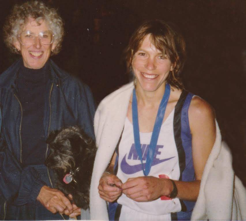 Ann and her mom after her first Western States win and finish in 1989.