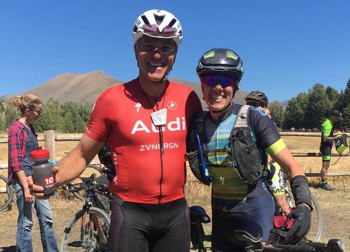 Bellevue's Ian Tubbs (who finished 4th overall at 2018 Kanza) and Jamie after the final 95-mile stage of 2018 Rebecca's Private Idaho gravel race.