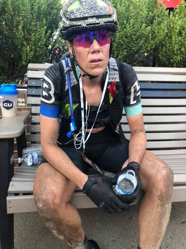 "Post-ride at the 206-mile Dirty Kanza. ""I was unable to walk and the volunteers carried me to this bench. I gave everything I had in the Flint Hills of Kansas."""