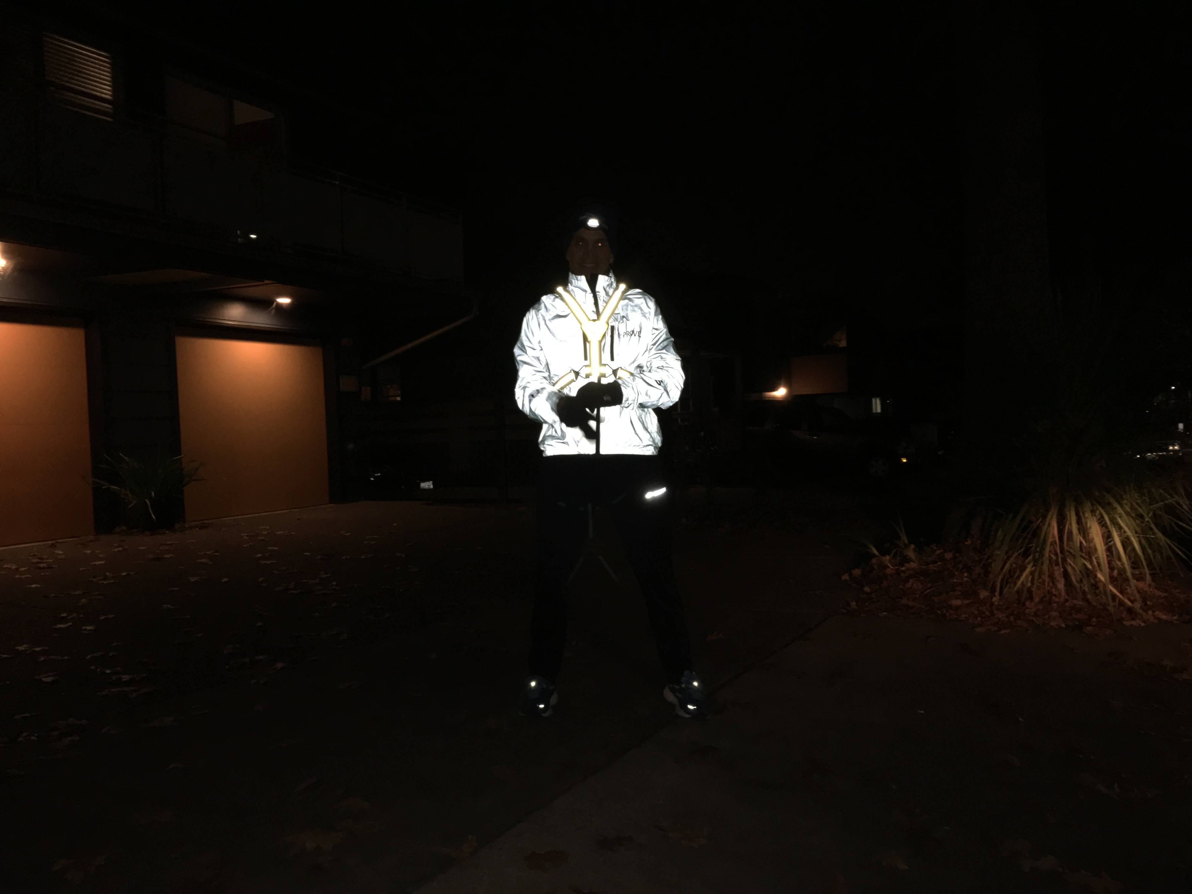 A Proviz jacket as illuminated by a camera flash. There is also an Amphipod Xinglet in the mix, but it gets drowned out by the Proviz' reflectivity.